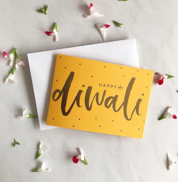 Luxury Gold foil Diwali Card on Mustard Sparkles + Stars
