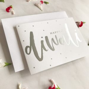 Luxury Silver foil Diwali Card with Stars + Sparkles|Deepavali|Diwali Card|Shubh Deepavali||Festival of light|In