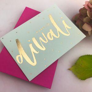 Luxury Gold foil Diwali Card on Pistachio|Sparkles + Stars |Deepavali |Diwali Card|Shubh Deepavali