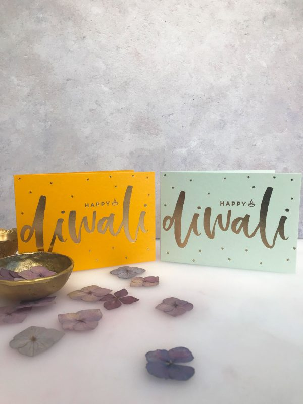 Luxury Gold foil Diwali Card on Mustard Sparkles + Stars