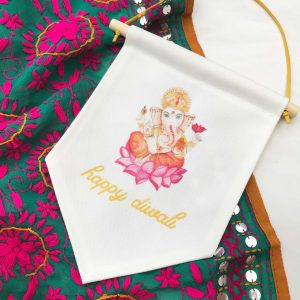 Happy Diwali Hand-painted Ganesh with script font