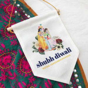 Hand painted Radha Krishna Shubh Diwali Flag Banner