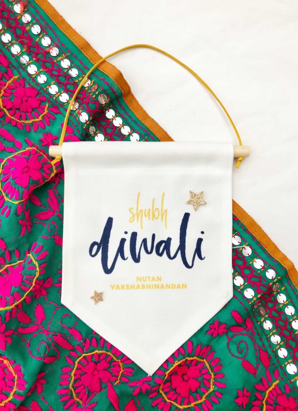 Shubh Diwali Hanging flag banner, finished with gold glitter stars