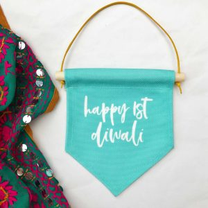 Mint Happy 1st Diwali Flag Banner