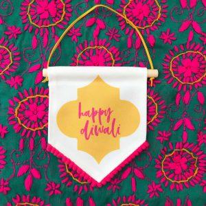 Yellow Pink Fringe Happy Diwali Flag full
